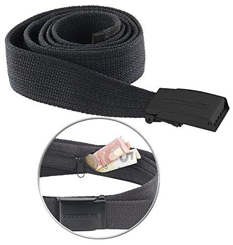 Preisvergleich Produktbild PEARL urban Gürtel: Reise-Geldgürtel mit verstecktem Geldfach, unisex, 130 x 4 cm, schwarz (Trekking Gürtel mit Geldfach)