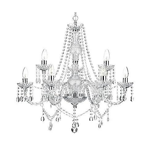 Saint Mossi Modern K9 Crystal Raindrop Chandelier Lighting Flush mount LED Ceiling Light Fixture Pendant Lamp for Dining Room Bathroom Bedroom Livingroom 2-Tier - 9 E14 Lights Height 71 cm Width 71