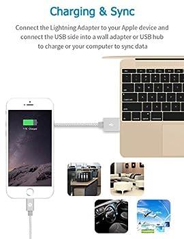 Apple Ladekabel Opso[apple Mfi Zertifiziert] Nylon Geflochten Lightning Usb Kabel 1m Für Iphone 7 6s 6 Plus Se 5s, Ipad Pro, Ipad Mini, Ipod Touch Nano - Silber 5