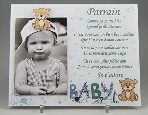 Cadre Photo - modèle Bleu pour Parrain - (Cadeau Parrain Marraine Baptême & Communion)