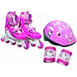 Hello Kitty - Bolsa con patin en linea tamaño 2 = 34-37 + protecciones + casco (D'Arpèje OHKY26)