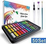 Acquerello Set ,RATEL Set pittura ad acquerello tra cui 36 colori Solido pigmento + 2 pennini a gancio + 2 pennelli per serbatoio d'acqua + 10 carte per acquerelli-acqua,Acquerelli Professionali