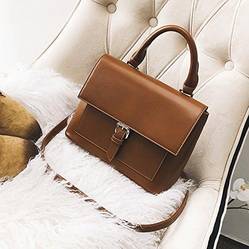 OME&QIUMEI Weibliche Bag Satchel Schultertasche Handtasche Kleine Tragbare Tasche brown
