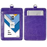 "Badge Holder, Wisdompro Double Sided PU Leather ID Badge Card Holder with 23"" Detachable Neck Lanyard / Strap - Purple (Vertical)"