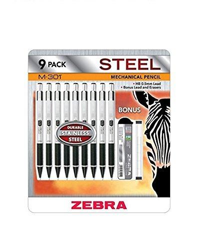 Zebra M-301 Druckbleistift, Stahl, 9 Stück (Zebra Druckbleistift 301)