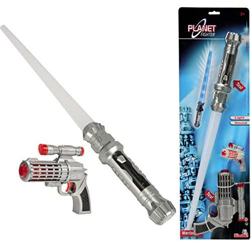 Laserpistole und Schwert, mit Licht- und Soundeffekten, 16 und 57 cm: Laser Pistole Wars Laserschwert Laser Gewehr 57cm Schwert Spielzeug Space Star Licht Sound