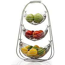 NONMON Frutero de 3 Pisos de Metal Cromado, Cesta de Frutas