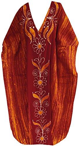 La Leela concepteur beachwear maillots de bain bikini robe caftan maxi kimono nuit caftan Orange