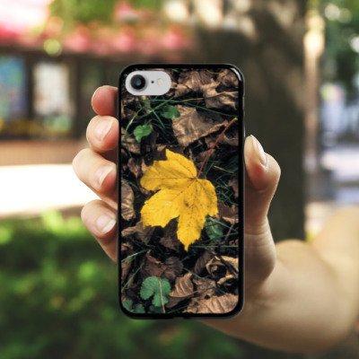 Apple iPhone X Silikon Hülle Case Schutzhülle Ahornblatt Laub Herbst Hard Case schwarz