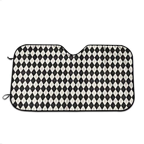NengBuy Autosonnenschutz Black and Cream Argyle Wallpaper (2043) Automotive Windshield Sunshades for Car SUV Trucks Minivan Automotive Sunshade Keeps Your Vehicle Cool Heat Shield Shade (Argyle Stoff)