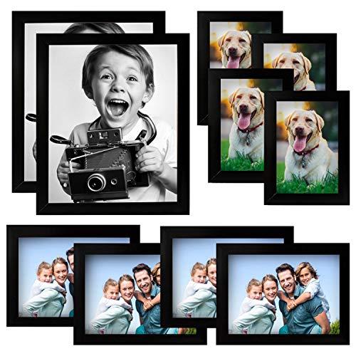 Kurtzy confezione da 10 cornici foto legno nero cornici 20x25cm, 10x15cm, 13x18cm - grande kit per espositori tavolo - set galleria da appendere - finitura liscia