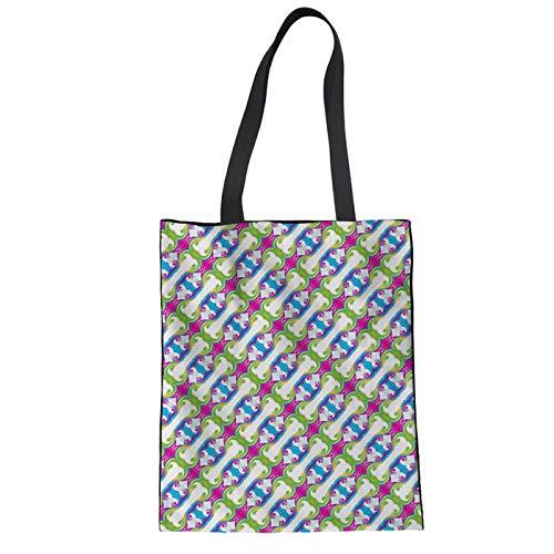 SHOUTIBAOBAO Handtasche Leinwand,Große Wiederverwendbare Frauen Tote Bag Umweltschutz Faltbar Knochen Muster Drucken Shopping Taschen Canvas Baumwolle Umhängetaschen -