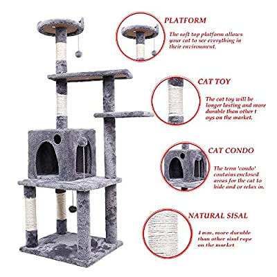 Speedy Pet Cat Tree Tall Cat Tower with Scratching Post Toys and Activity Center for Indoor Big and Large Cats Kittens with Heavy Duty Sisal 145CM