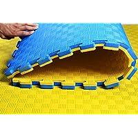 Hercules Outdoor 4 Pack de 1 m x 1 m x 25 mm Reversible Eva Jigsaw Azulejos, Azul Amarillo,