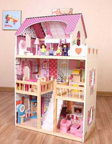 Leomark Traumvilla Holzpuppenhaus mit Möbeln, Puppenhaus holz Plus-gratiss 4 Puppen Puppenhaus Mit Möbeln Und Zubehör 3 Etagen Höhe 90 cm, Bunt