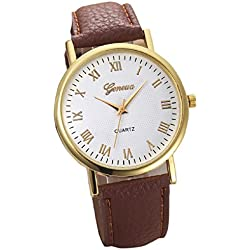 Mallom Women's Watch Glitter Dial Watch Brown Band Free Delivery