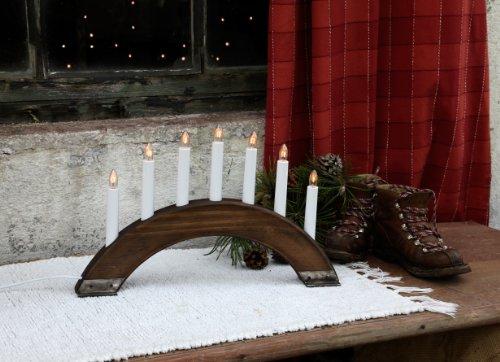 Best Season 24-36 Viking Bow - Candelabro con 7 puntos de luz (madera y metal,  27 x 42 cm),color marrón oscuro