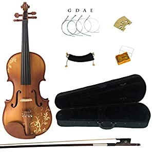 Kinglos 4/4 3/4 1/2 Flower Hand Carved Ebony Fitted Solid Wood Violin Kit with Case, Shoulder Rest, Bow, Rosin, Extra Bridge and Strings Full Size