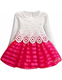 Sannysis Kind-Mädchen Langarm-Prinzessin Dress-Höhle-Blumen-Kleid