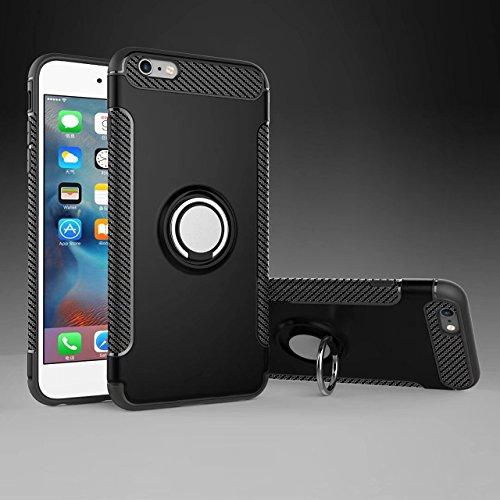 iPhone 6S Plus Hülle, iPhone 6 Plus Schutzhülle 360° Kickstand Magnetic Premium Silicone Bumper Case, Silikon TPU + PC Farbschichtschutz Handyhülle mit 360° Drehbarem Metallhalter, Tasche mit Grip Rin Schwarz