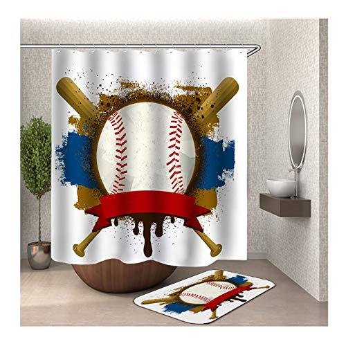 Knbob Polyester Duschvorhang & Badezimmerteppich Set Baseball Bad Vorhang Badvorleger 165x180CM mit 12 Duschvorhangringen -