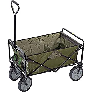 ANZ Heavy Duty Foldable Garden Trolley Cart Wagon Truck Wheelbarrow- Green