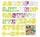 ilauke Fondant Buchstaben Ausstecher groß Ausstechform Modellierwerkzeug farbig Alphabet Zahlen Tortendeko Mazipan Kuchendekorationsset Backen ca. 4,6 cm Höhe und 3 bis 6 cm Breit