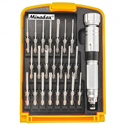 Minadax® Hochwertig Gehaertet 23-teilig Schraubendreher Werkzeug Set aus Chrom-Vanadium - besonders belastbar inkl. praktischer Aufbewahrungsbox