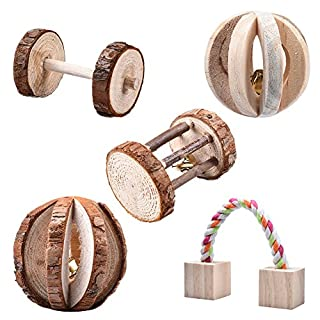 5Pcs Hamster Wooden Chew Toys Little Pets Natural Pine Dumbells Unicycle Bell Roller PlayToy For Rabbits Rat by Awhao