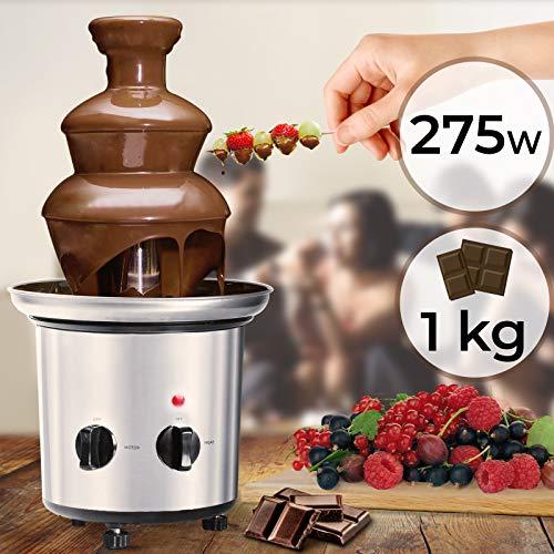 Fontaine à Chocolat - 275 W, 3 Étages, Capacité 1 kg, Électrique, H 39 cm, en Acier Inoxydable, Lavable dans le Lave-Vaisselles, Argenté - Fondue au Chocolat, Fruits