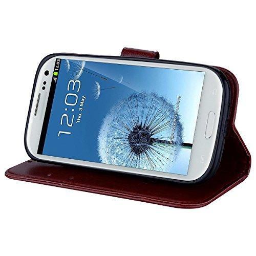 Coque Samsung S3 Anfire Fleur Motif Peint Mode Coque PU Cuir pour Galaxy S3 Etui Case Protection Portefeuille Rabat Étui Coque Housse pour Samsung Galaxy S3 i9300 (4.8 pouces) Luxe Style Livre Pochett Brun