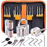 Lockpicking Set, Dietrich Set - 24 Stück Lock Pick Training Set mit 3 Transparentem Trainingsschlössern für...