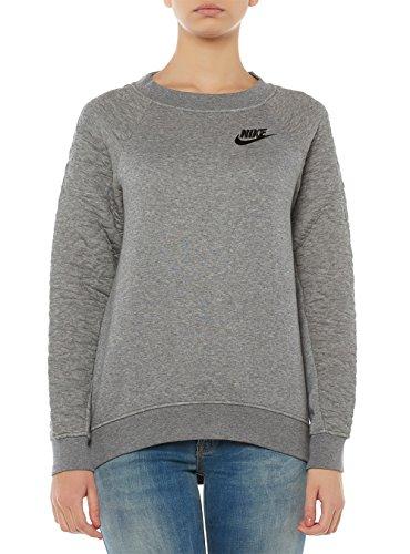 Nike W Nsw Rally Crw Ssnl - langärmeliges Top Damen, Farbe gris  (carbon heather / carbon heather / negro)