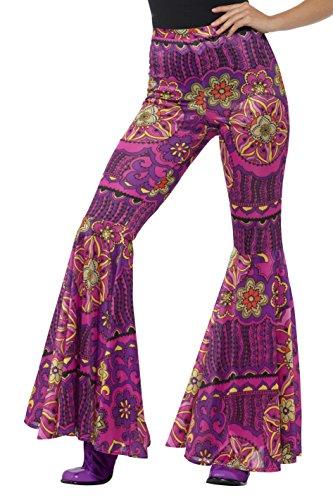 Kostüm Pink Lady Schuhe - Smiffys Damen Woodstock Schlaghose, Größe: 40-46, Pink, 21464