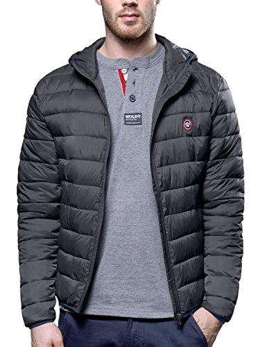 WOLDO Athletic Herren Übergangsjacke Jacke Steppjacke mit Kapuze Slim Fit grau (L, Kurri / grau)