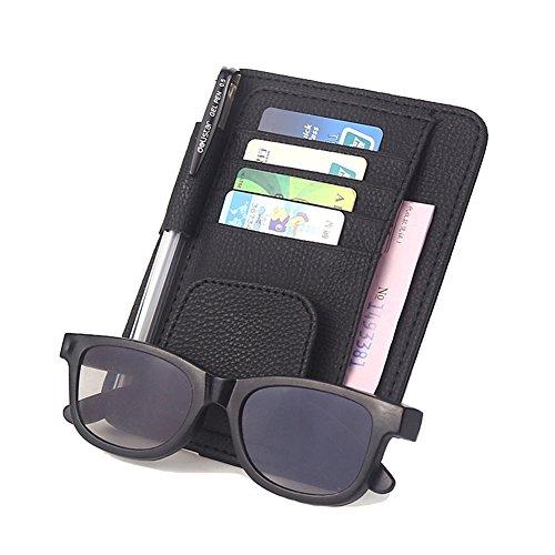 Sonnenbrillen- und Kartenhalter mit Klipp, Multifunktions Gläser Karten Sonnenbrille Halter Echt Leder Schutzhülle Halterung Tasche für Auto Fahrzeug LKW Sun Visor Organizer von DUBENS® (Schwarz)