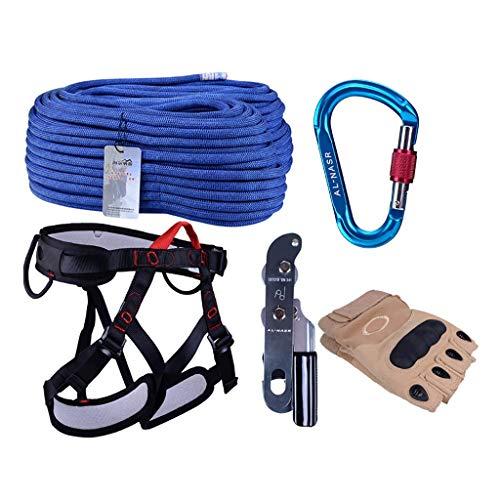 Zlhwzb outdoor alpinismo climbing speed drop set set di protezioni per lavori ad alta aria bloccaggio a scatto speed drop belt seat belt discensore (colore : 20m)