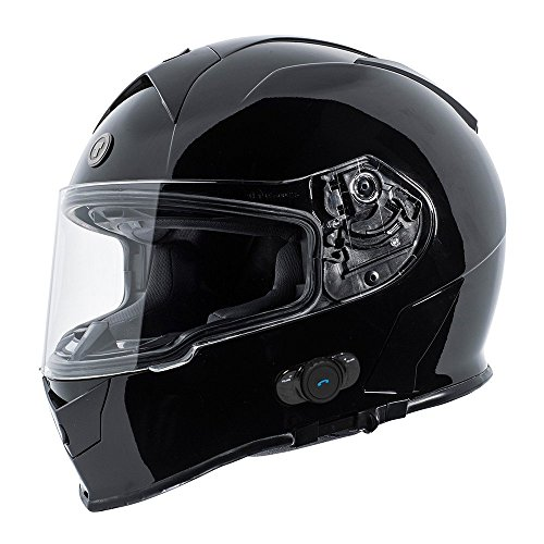 TORC T14B Blinc - Casco de moto con Bluetooth integrado, color negro b
