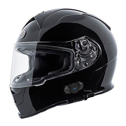 TORC T14B Blinc - Casco de moto con Bluetooth integrado, color negro b