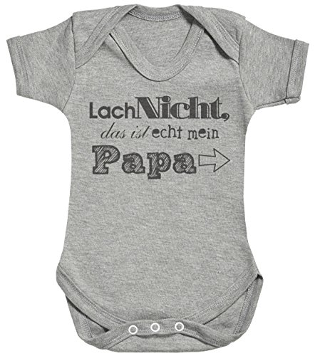 SR - Lach Nicht das ist echt mein Papa Baby Strampler - Baby Body Suit - Baby Jungen Strampler - Baby Mädchen Strampler - 3-6 Monate Grau