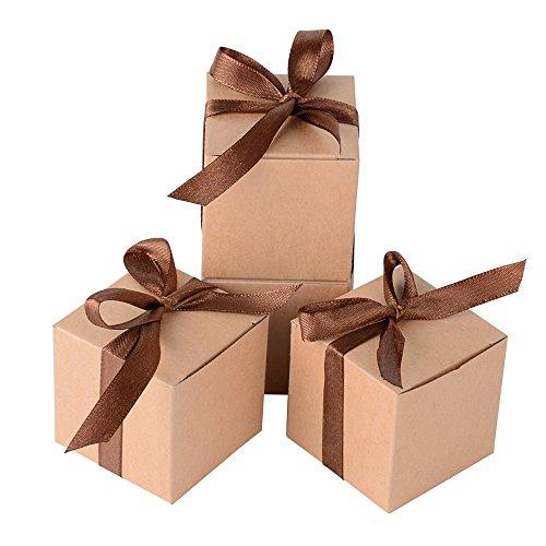 k Box inkl. Seidenbänder 5x5x5 cm Geschenkbox für Hochzeit, Taufe, Party usw. Pralinenschachtel süßigkeiten Bonboniere (Braun) (Taufe Party Supplies)