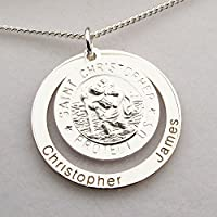 Sterling Silver Personalised 3D St Christopher Family Pendant With Optional Chain