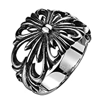 LuremeŽ Punk Retro Ancient Maya Biker Gothic Chrome Hearts Style Stainless Steel Silver Black Band Hollow Ring for Men(04001147-parent) (10)