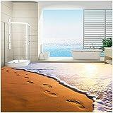 Xbwy Hd Tramonto Di Spiaggia Dorata Sabbia Spiaggia Impronta Murale Per Camera Da Letto Pavimento Sfondo Personalizzato Pvc-250X175Cm
