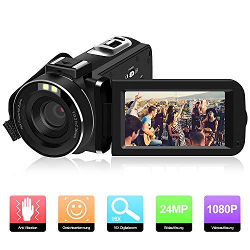 Videokamera Camcorder, ODLICNO Digitalkamera 1080P Full HD 24MP 3 Zoll TFT LCD Bildschirm 16X Digitalzoom 270 Grad drehbar Digitalrekorder DV Kamera