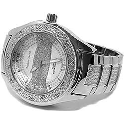 Techno Trend Sandblast Stripe Faux Diamond Hiphop Mens Watch