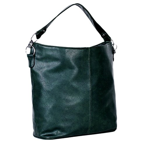 dondon-sac-a-porter-sac-parfait-pour-femme-simili-cuir-hobo-bag-avec-fermeture-a-glissiere-vert-fonc