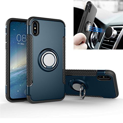 Custodia iPhone X / 10, REXANG[Con 360 ° Kickstand] Cover di Protezione Rotativa [Supporto Magnetico per Auto] Resilient Assorbimento Antiurto Case per iPhone X (iPhone X, Blu) Blu Scuro