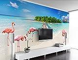 Fototapete Vlies Wallpaper 3D Tapete Wanddeko Moderne Wandbilder Anpassbare moderne einfach high definition blick aufs meer strand kulisse flamingos tv hintergrund mauer