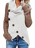 FIYOTE Damen Winterjacke Warm Strickjacke Rollkragen Cardigan Strickpullover Casual Wrap Wickel Pullover Sweater